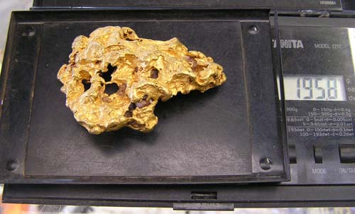 6.3oz Gold Nugget shown on Gold Scales