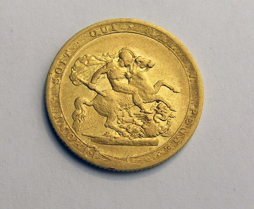 The 1820 Gold Sovereign found with a Minelab CTX 3030 Metal Detector